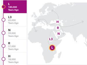 Haplogroup L, 23andme.com screenshot.