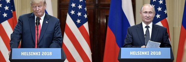 The 2018 Trump–Putin summit. Trump failed to acknowledge Russian interference in the 2016 U.S. elections.